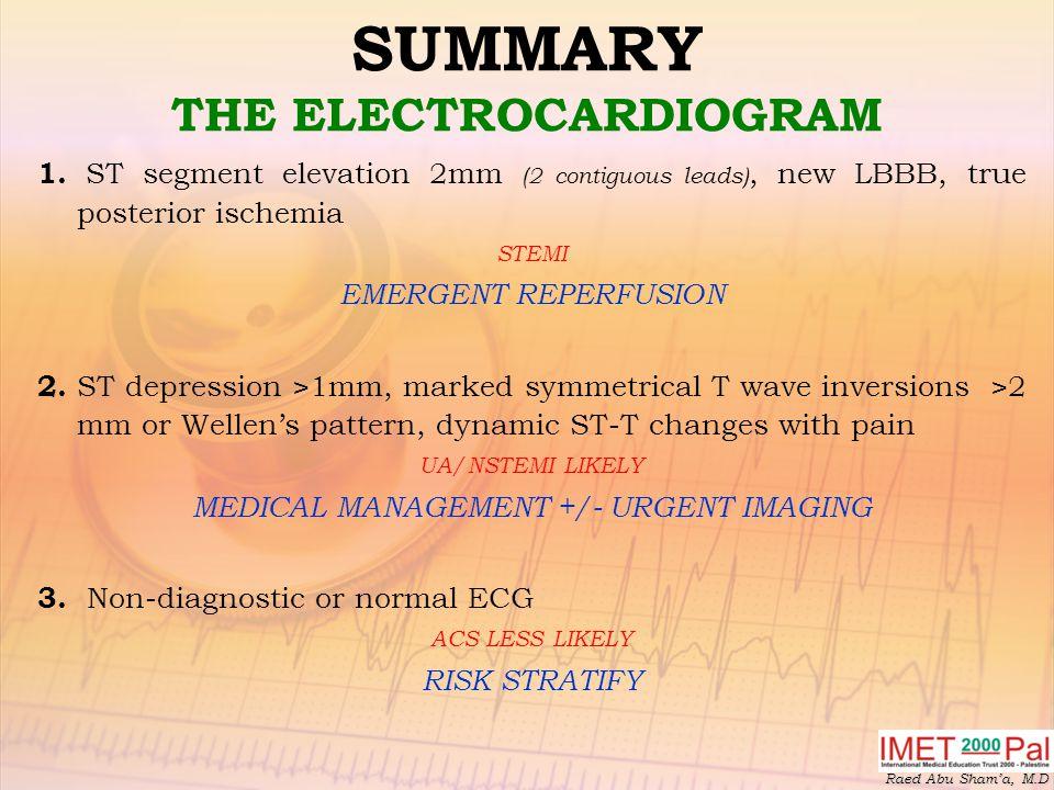Raed Abu Sham'a, M.D SUMMARY THE ELECTROCARDIOGRAM 1.