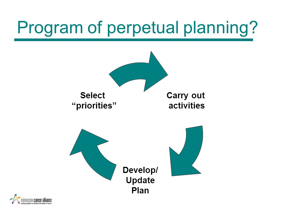 Carry out activities Develop/ Update Plan Select priorities Program of perpetual planning