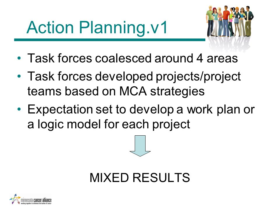 Action Planning.v1 Task forces coalesced around 4 areas Task forces developed projects/project teams based on MCA strategies Expectation set to develop a work plan or a logic model for each project MIXED RESULTS