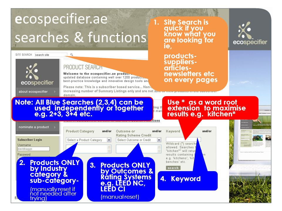 ecospecifier.ae search results Ecospecifier © 2008 Live links to Enhanced Content LEED Listings in Grey Country Availability (UAE only currently) Assessment Criteria met Basic Summary Listings in White UAE Availability Category: (see next slide)