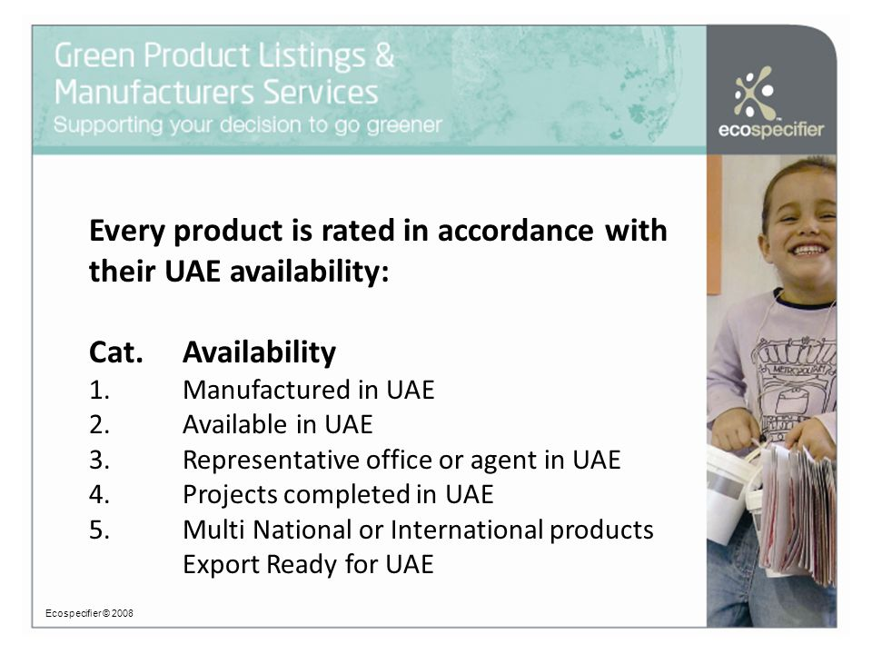 Every product is rated in accordance with their UAE availability: Cat.