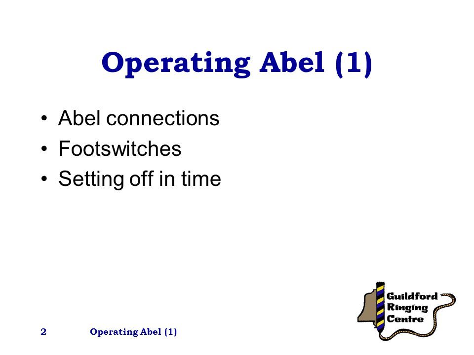 Operating Abel (1)3 This tutorial assumes you are familiar with using Abel on it's own i.e.