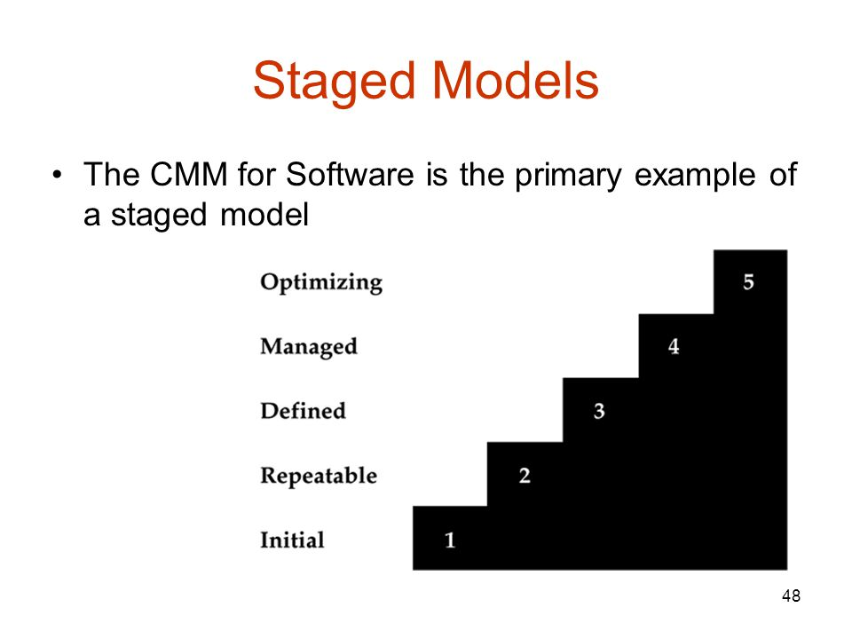 48 Staged Models The CMM for Software is the primary example of a staged model