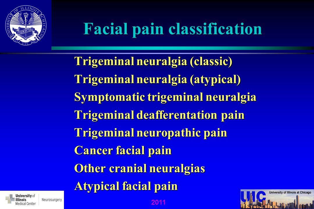 2011 Facial pain classification Trigeminal neuralgia (classic) Trigeminal neuralgia (atypical) Symptomatic trigeminal neuralgia Trigeminal deafferentation pain Trigeminal neuropathic pain Cancer facial pain Other cranial neuralgias Atypical facial pain