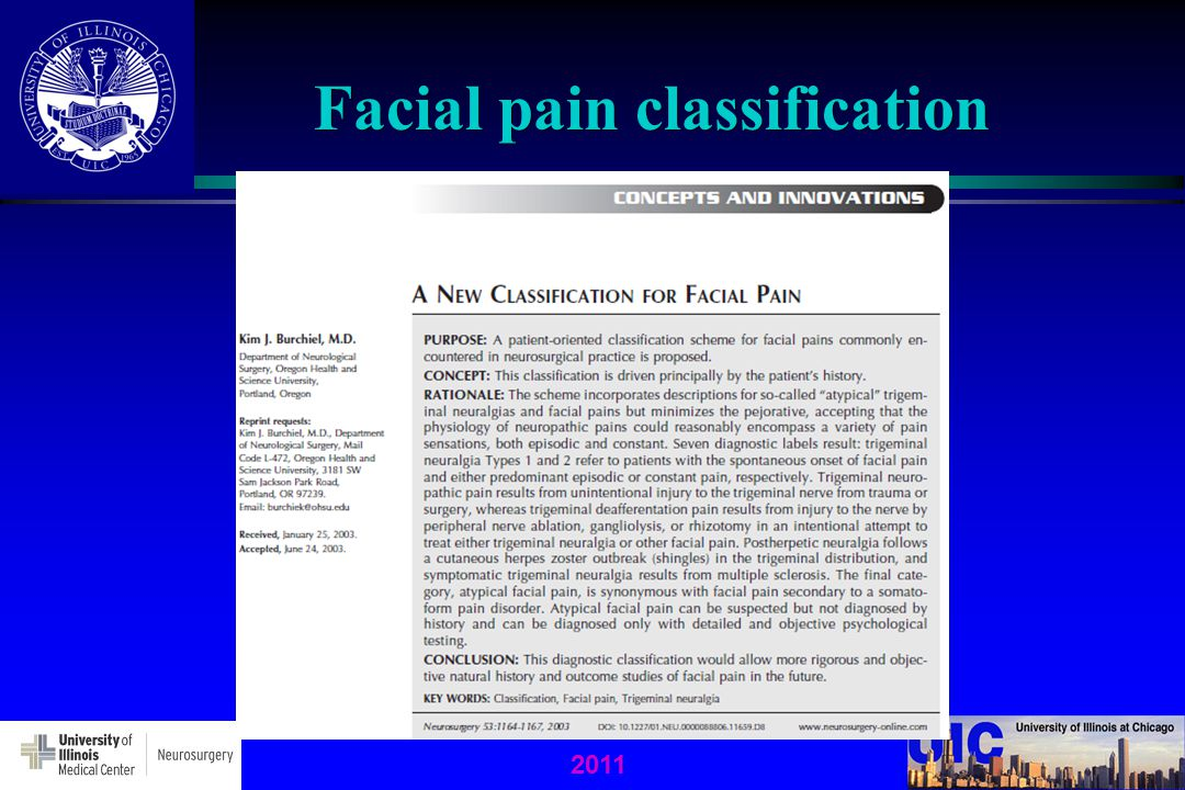 2011 Facial pain classification