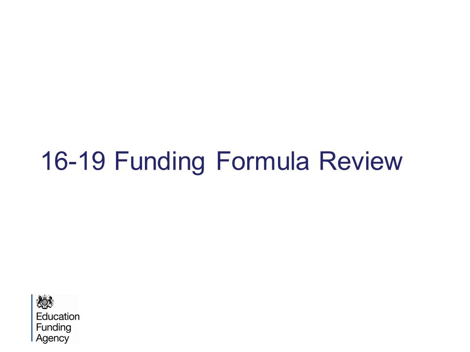 16-19 Funding Formula Review