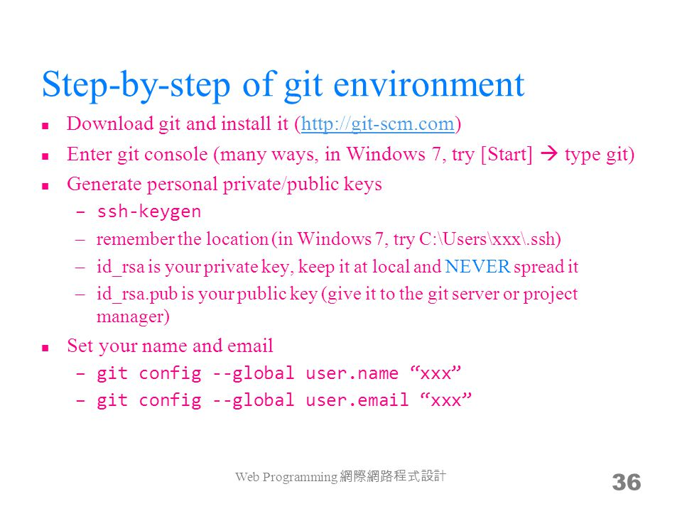 Step-by-step of git environment Download git and install it (http://git-scm.com)http://git-scm.com Enter git console (many ways, in Windows 7, try [St