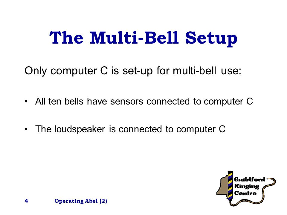 Operating Abel (2)4 The Multi-Bell Setup Only computer C is set-up for multi-bell use: All ten bells have sensors connected to computer C The loudspeaker is connected to computer C