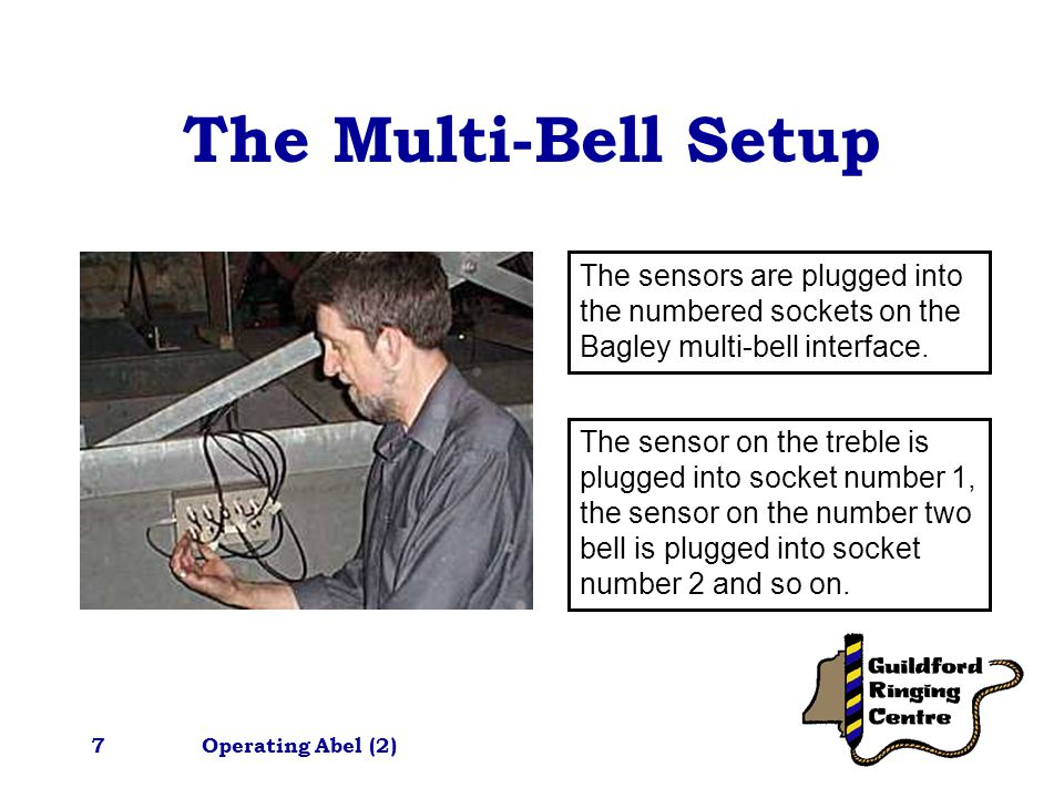 Operating Abel (2)7 The Multi-Bell Setup The sensors are plugged into the numbered sockets on the Bagley multi-bell interface.
