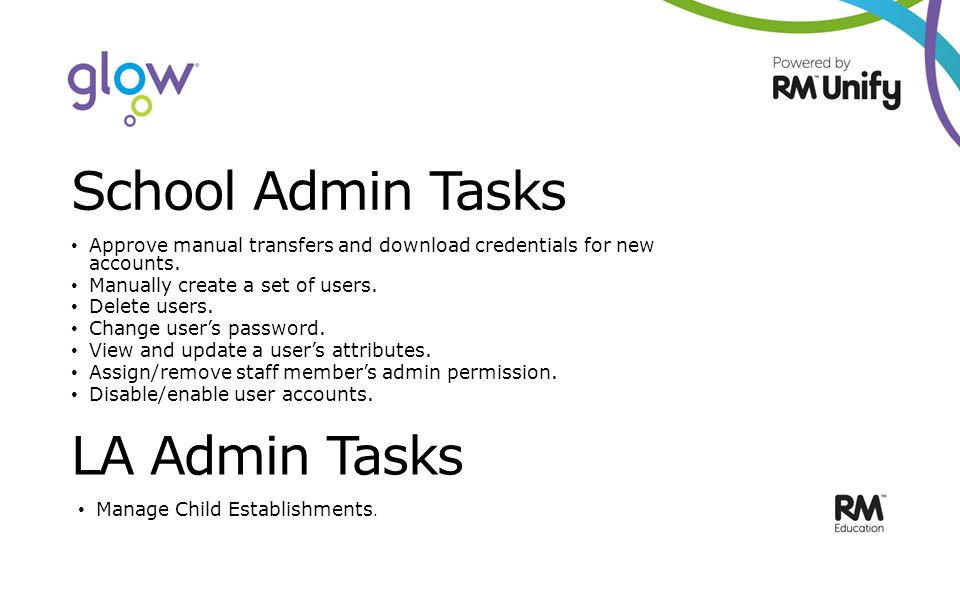 School Admin Tasks Approve manual transfers and download credentials for new accounts.