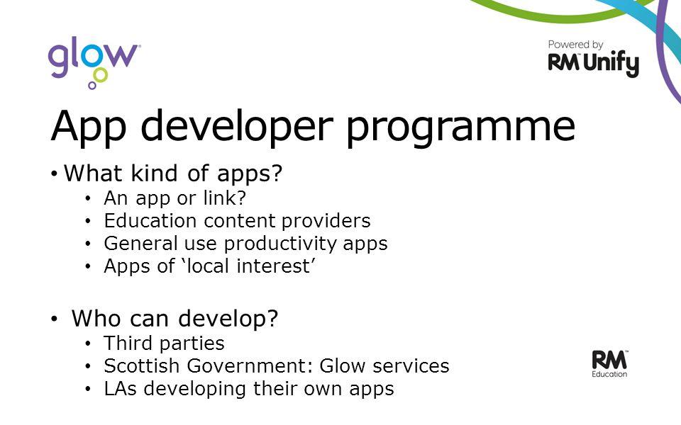 App developer programme What kind of apps. An app or link.