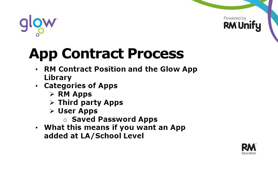App Contract Process RM Contract Position and the Glow App Library Categories of Apps  RM Apps  Third party Apps  User Apps o Saved Password Apps What this means if you want an App added at LA/School Level