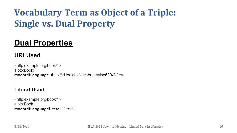 Dual Properties URI Used a pto:Book; modsrdf:language ;.