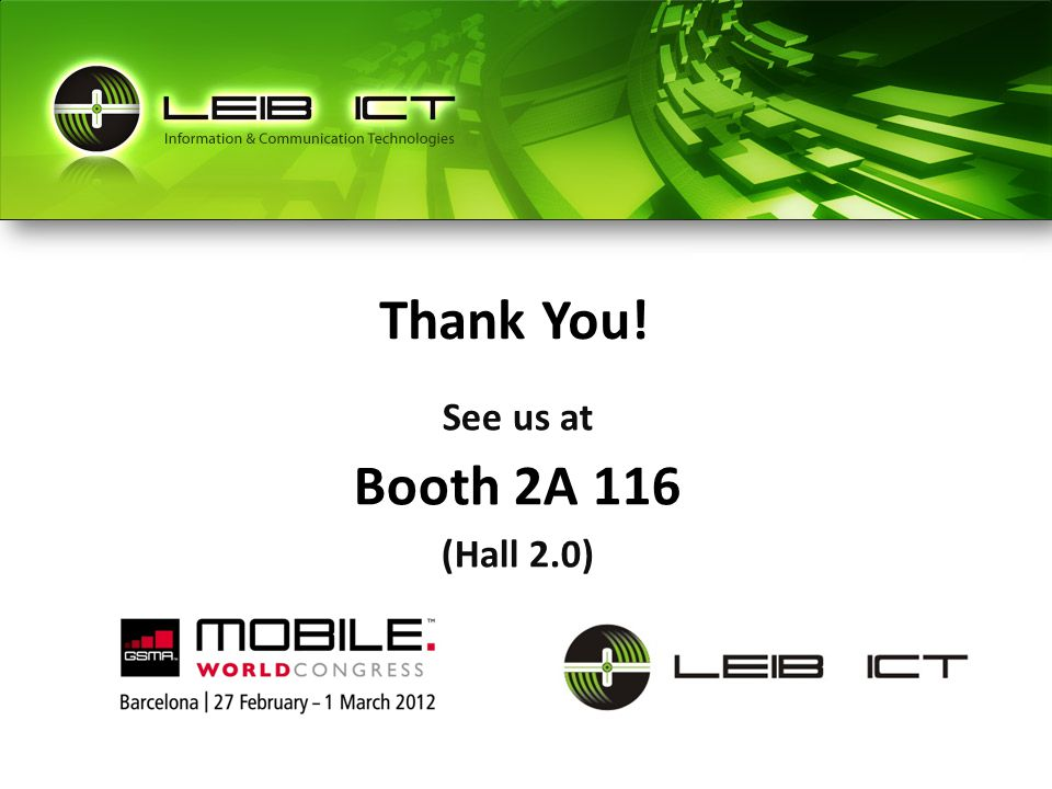 See us at Booth 2A 116 (Hall 2.0) Thank You!