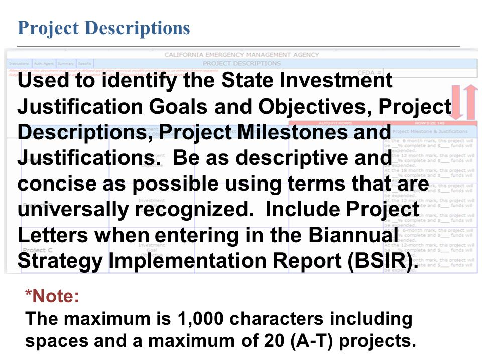 Project Descriptions ____________________________________________________________ Used to identify the State Investment Justification Goals and Objectives, Project Descriptions, Project Milestones and Justifications.