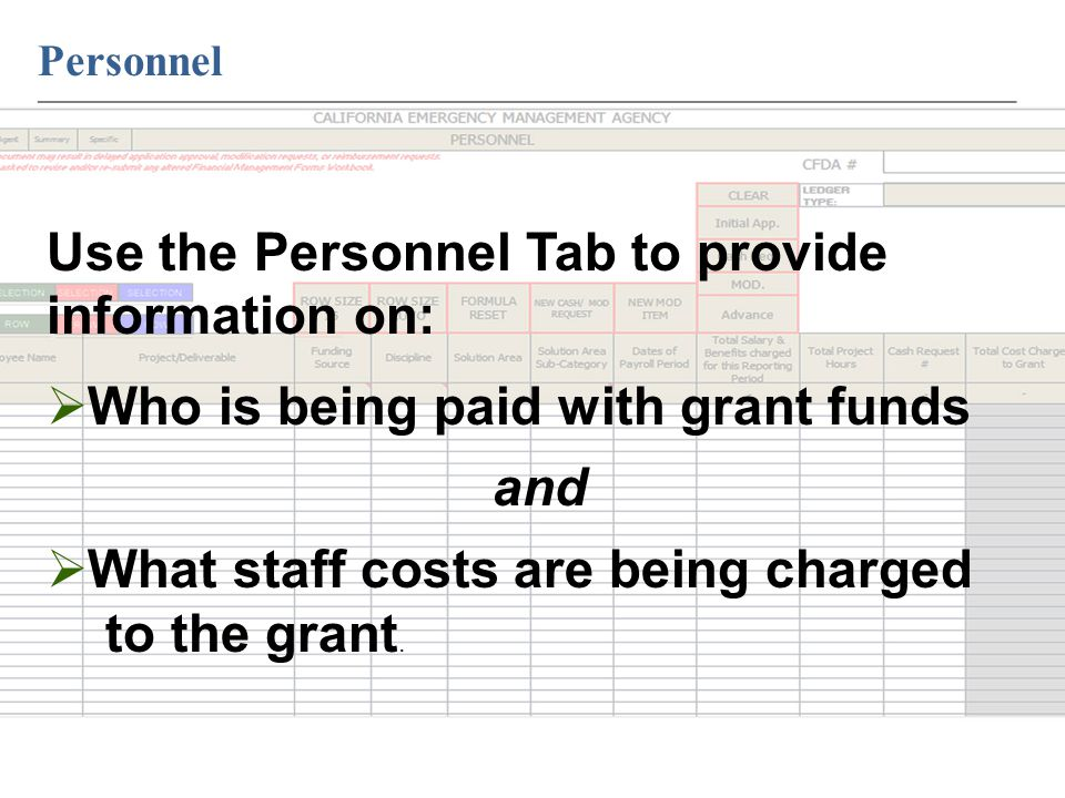 Personnel ____________________________________________________________ Use the Personnel Tab to provide information on:  Who is being paid with grant funds and  What staff costs are being charged to the grant.