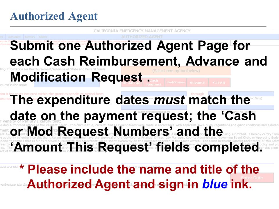 Authorized Agent ____________________________________________________________ Submit one Authorized Agent Page for each Cash Reimbursement, Advance and Modification Request.