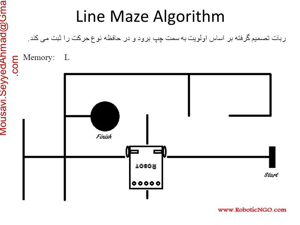 Mousavi.SeyyedAhmad@Gmail.com ربات تصمیم گرفته بر اساس اولویت به سمت چپ برود و در حافظه نوع حرکت را ثبت می کند.