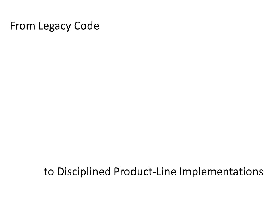 Legacy System with Runtime Parameters Legacy System with #ifdef Variability Family of Similar Legacy Systems Legacy 1 Legacy 2b Legacy 2a Software Product Line dynamic variability extr.