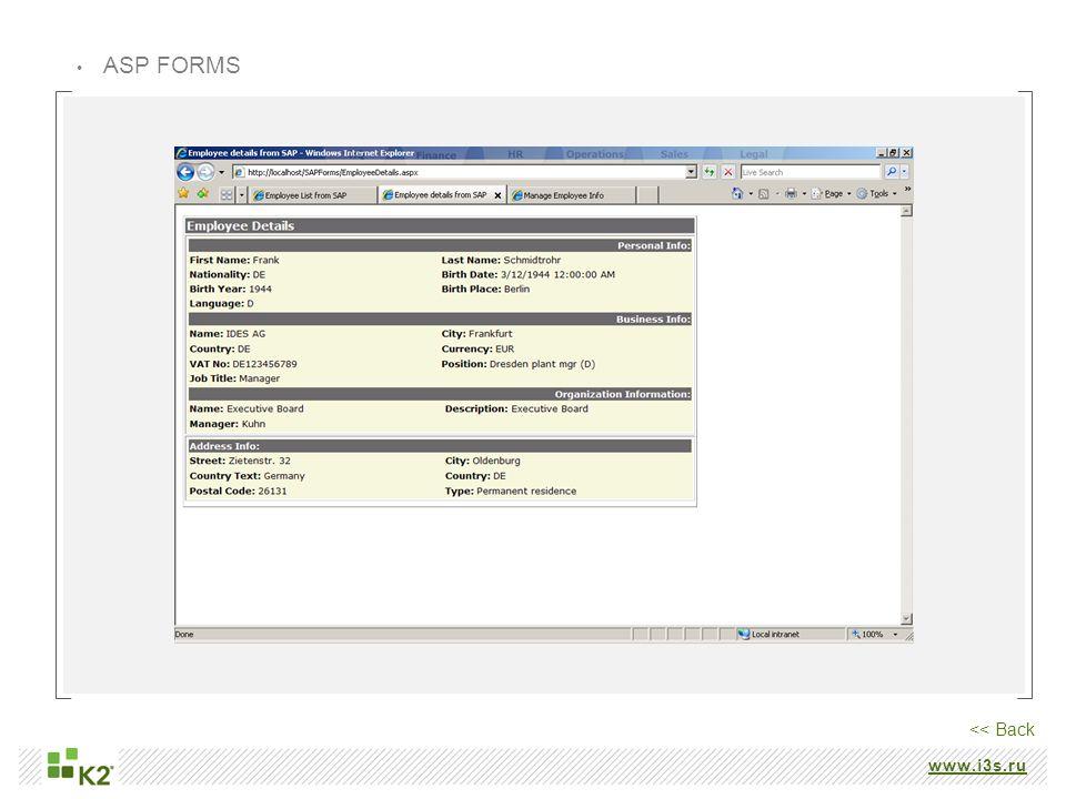 www.i3s.ru ASP FORMS << Back