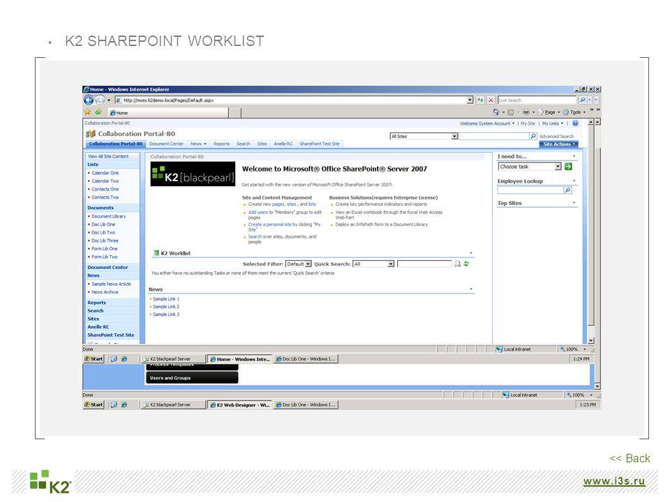 www.i3s.ru K2 SHAREPOINT WORKLIST << Back