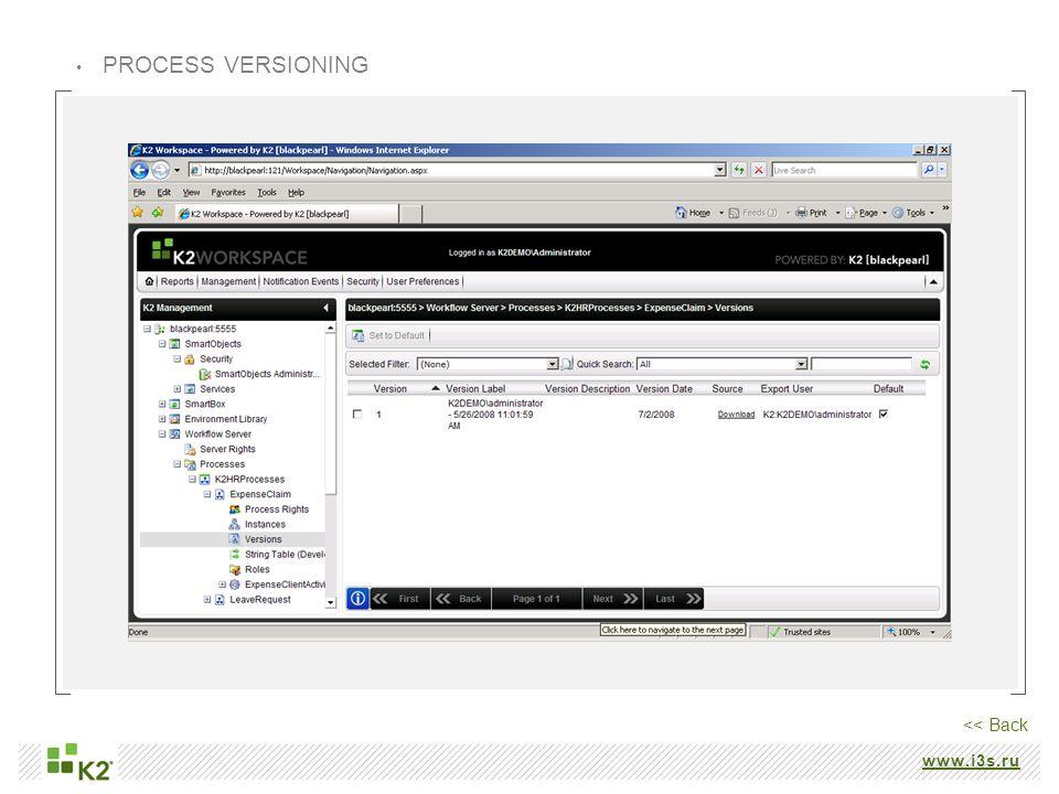www.i3s.ru PROCESS VERSIONING << Back