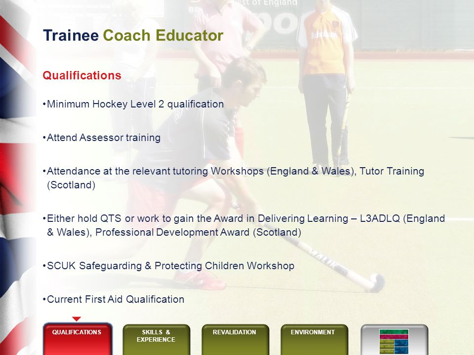 Trainee Coach Educator QUALIFICATIONSSKILLS & EXPERIENCE REVALIDATIONENVIRONMENT Skills Able to observe / support delivery of a minimum of 1 course, then subject to positive Head Coach educator reports, work as a Trainee Coach Educator for 3 courses Organisation Communication Observation, analysis & feedback Equitable Enthusiastic Experience Attended induction & coach educator training Recommended education & / or training background Actively coaching Sound hockey technical & tactical knowledge
