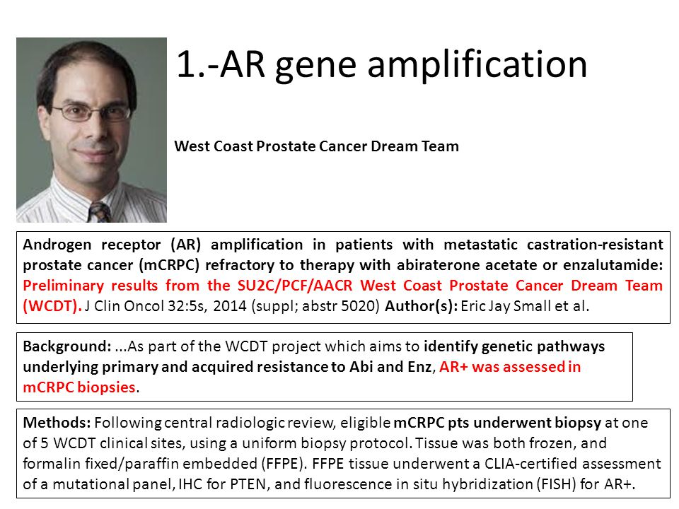 1.-AR gene amplification Androgen receptor (AR) amplification in patients with metastatic castration-resistant prostate cancer (mCRPC) refractory to t