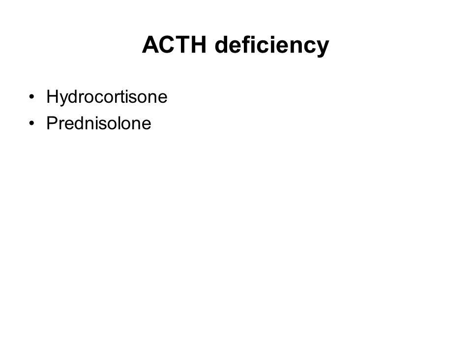 ACTH deficiency Hydrocortisone Prednisolone