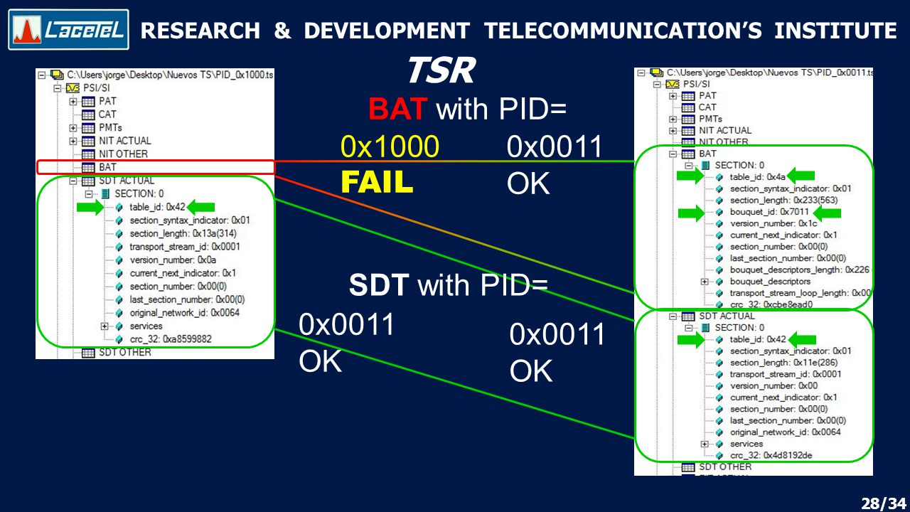 RESEARCH & DEVELOPMENT TELECOMMUNICATION'S INSTITUTE TSR 28/34 BAT with PID= 0x1000 FAIL 0x0011 OK SDT with PID= 0x0011 OK 0x0011 OK