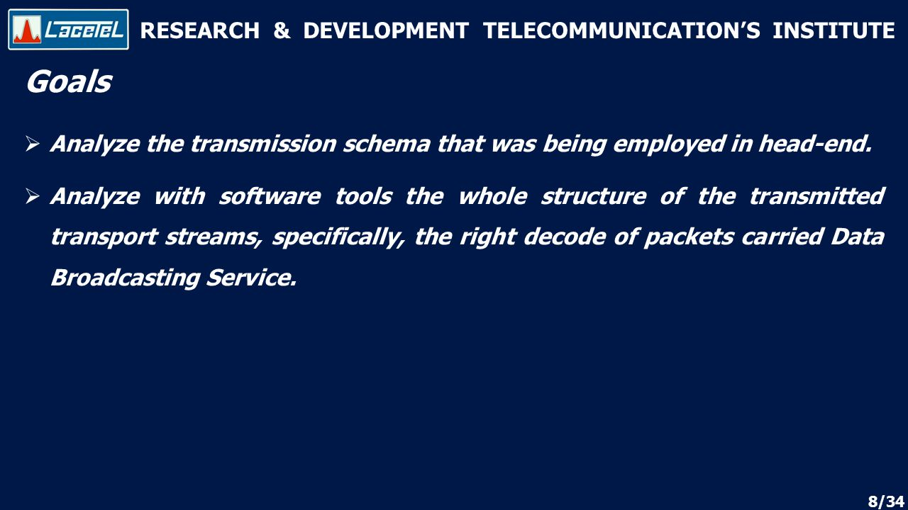 RESEARCH & DEVELOPMENT TELECOMMUNICATION'S INSTITUTE Goals  Analyze the transmission schema that was being employed in head-end.