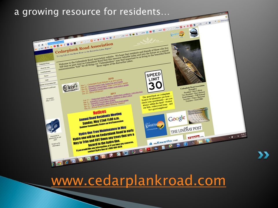 www.cedarplankroad.com a growing resource for residents…