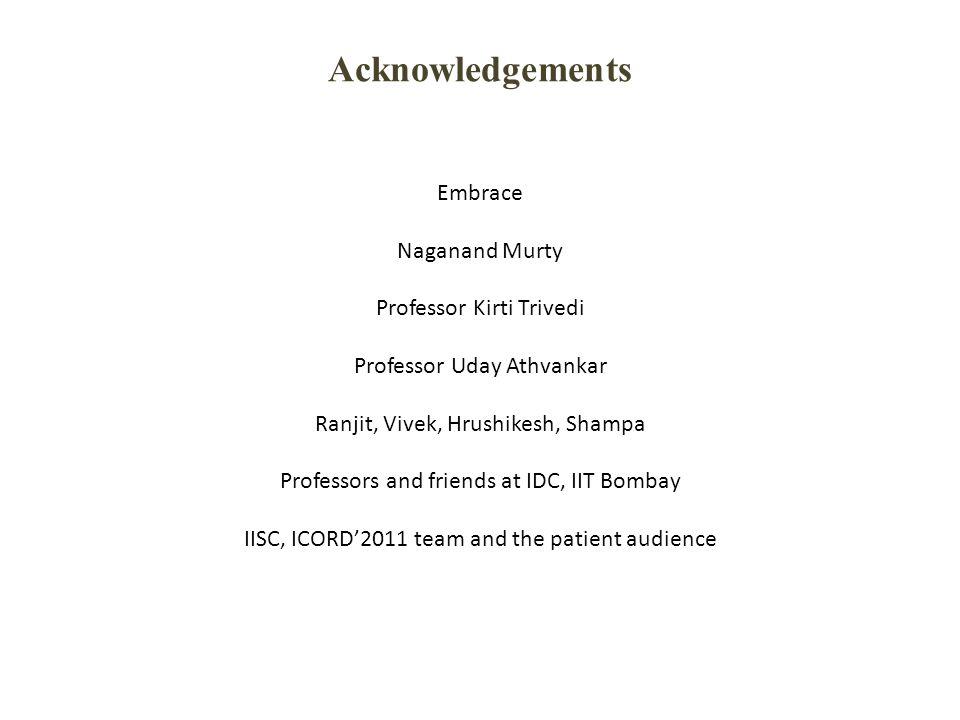 Acknowledgements Embrace Naganand Murty Professor Kirti Trivedi Professor Uday Athvankar Ranjit, Vivek, Hrushikesh, Shampa Professors and friends at I