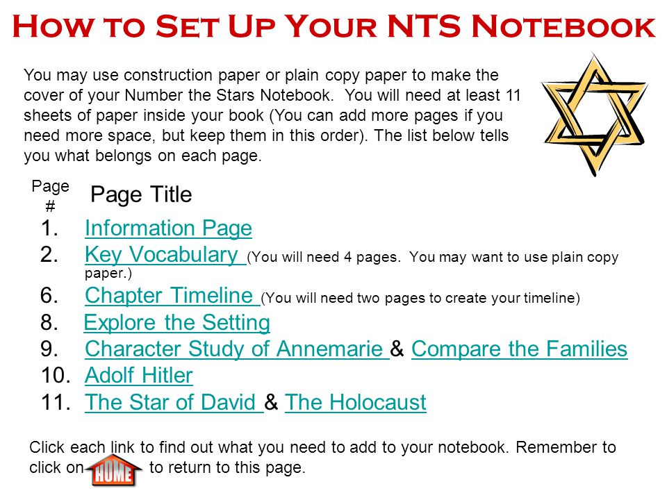 How to Set Up Your NTS Notebook 1.Information PageInformation Page 2.Key Vocabulary (You will need 4 pages.