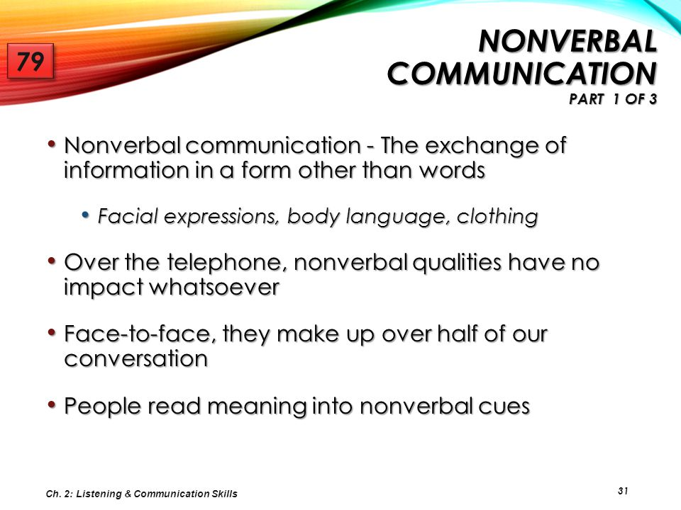 31 NONVERBAL COMMUNICATION PART 1 OF 3 Nonverbal communication - The exchange of information in a form other than words Nonverbal communication - The