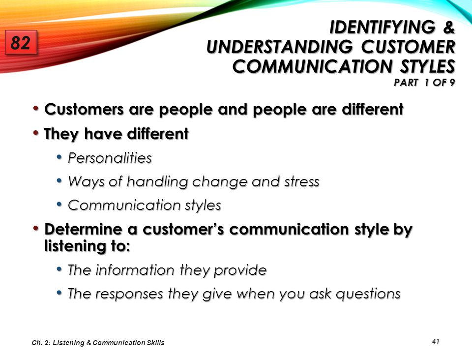 41 IDENTIFYING & UNDERSTANDING CUSTOMER COMMUNICATION STYLES PART 1 OF 9 IDENTIFYING & UNDERSTANDING CUSTOMER COMMUNICATION STYLES PART 1 OF 9 Custome