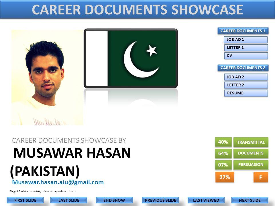 MUSAWAR HASAN (PAKISTAN) CAREER DOCUMENTS SHOWCASE BY Musawar.hasan.aiu@gmail.com LAST VIEWED NEXT SLIDE LAST SLIDE FIRST SLIDE PREVIOUS SLIDE END SHOW Flag of Pakistan courtesy of www.mapsofworld.com 40% 64% CAREER DOCUMENTS 1 CAREER DOCUMENTS 2 JOB AD 1 LETTER 1 CV JOB AD 2 LETTER 2 RESUME CAREER DOCUMENTS SHOWCASE 07% TRANSMITTAL DOCUMENTS PERSUASION 37% F F
