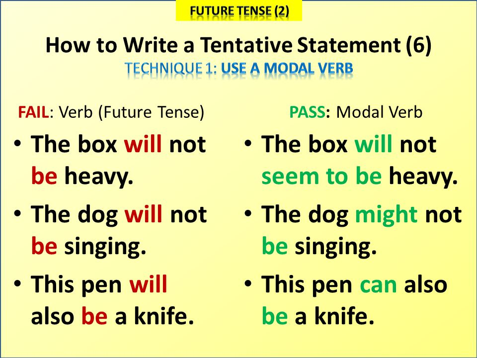 How to Write a Tentative Statement (6) FAIL: Verb (Future Tense) The box will not be heavy.