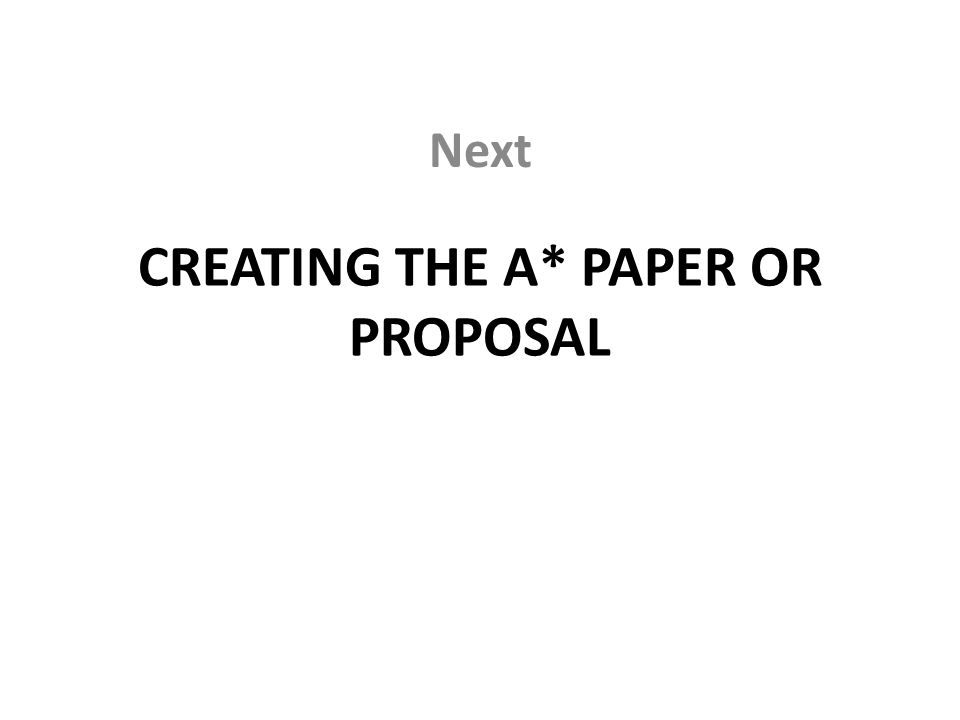CREATING THE A* PAPER OR PROPOSAL Next
