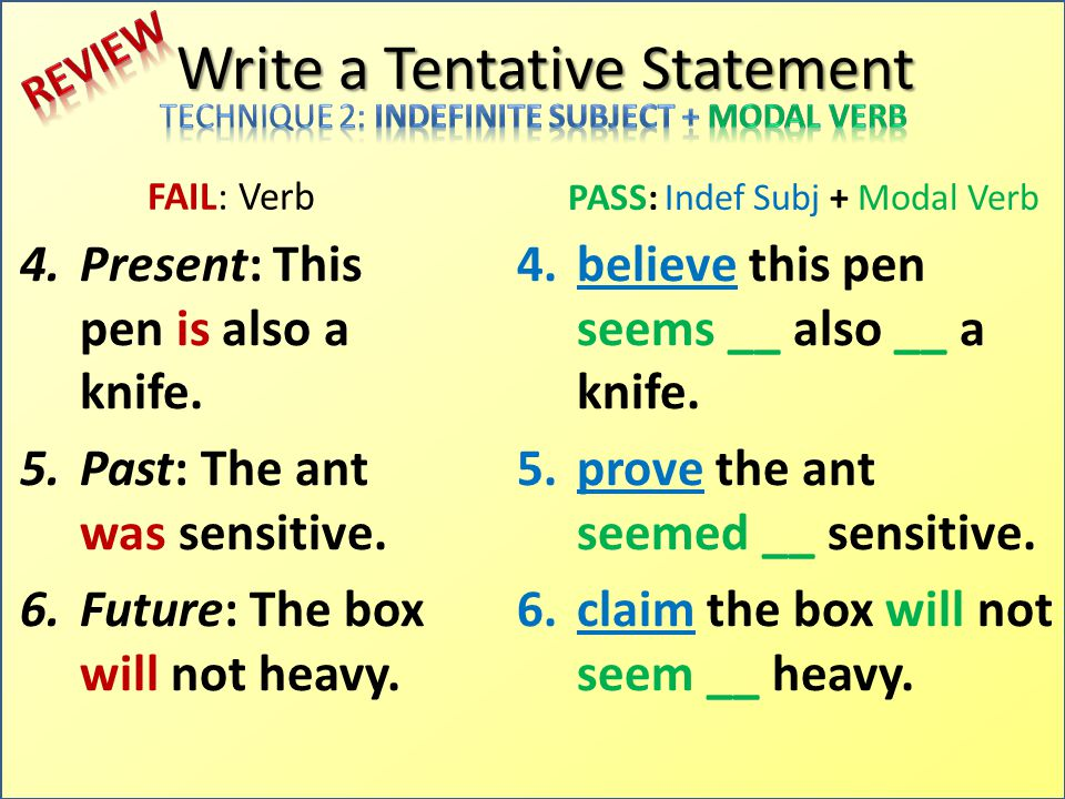 Write a Tentative Statement FAIL: Verb 4.Present: This pen is also a knife.