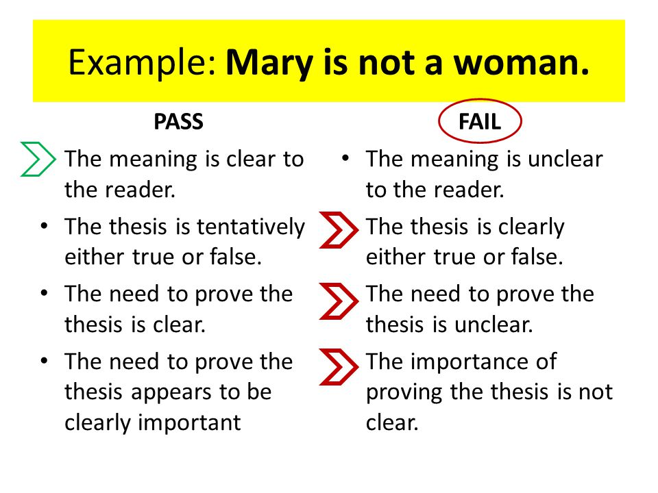 Example: Mary is not a woman. PASS The meaning is clear to the reader.