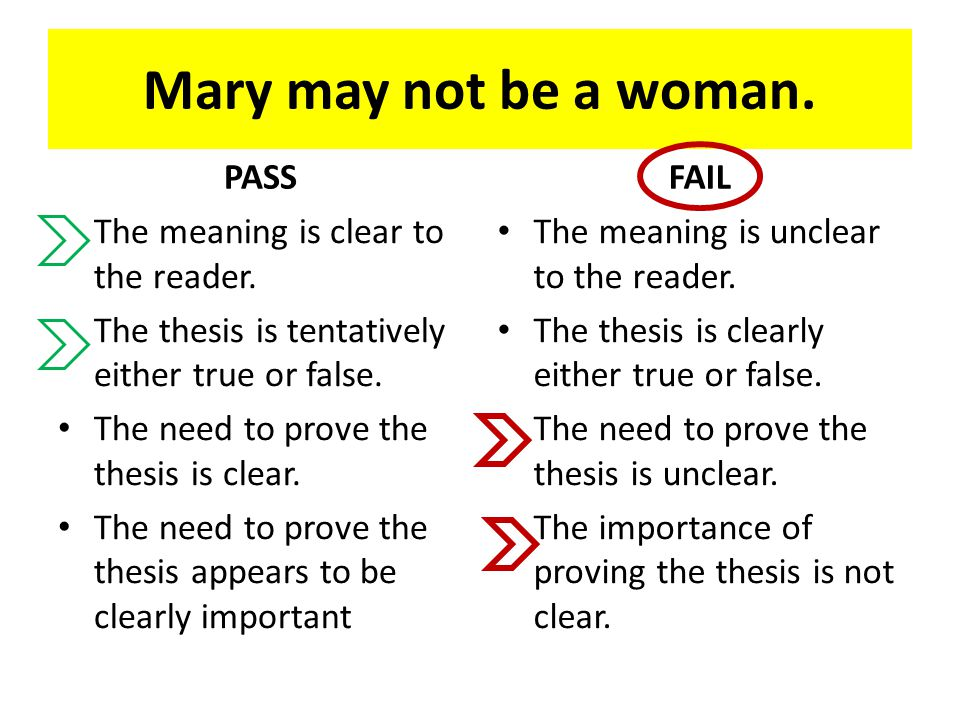 Mary may not be a woman. PASS The meaning is clear to the reader. The thesis is tentatively either true or false. The need to prove the thesis is clea