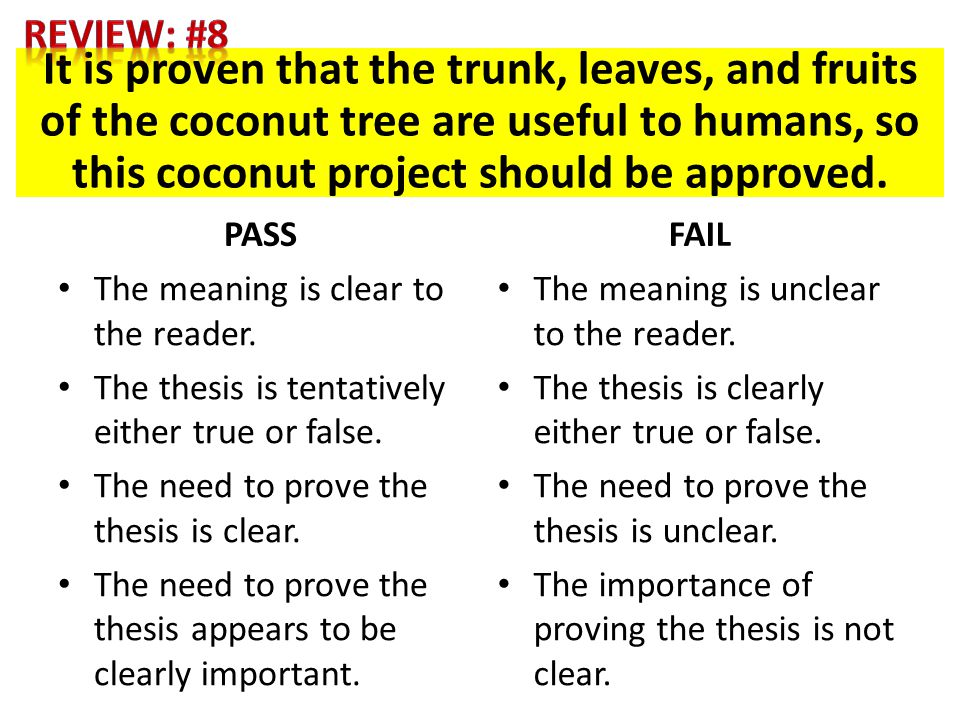 It is proven that the trunk, leaves, and fruits of the coconut tree are useful to humans, so this coconut project should be approved. PASS The meaning