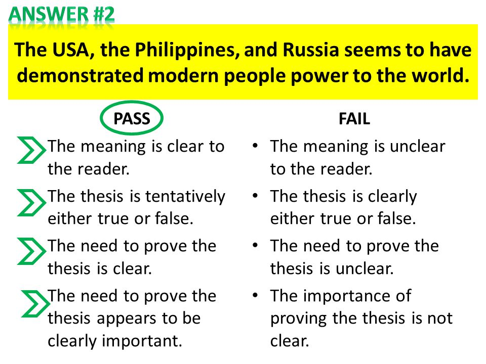 The USA, the Philippines, and Russia seems to have demonstrated modern people power to the world. PASS The meaning is clear to the reader. The thesis