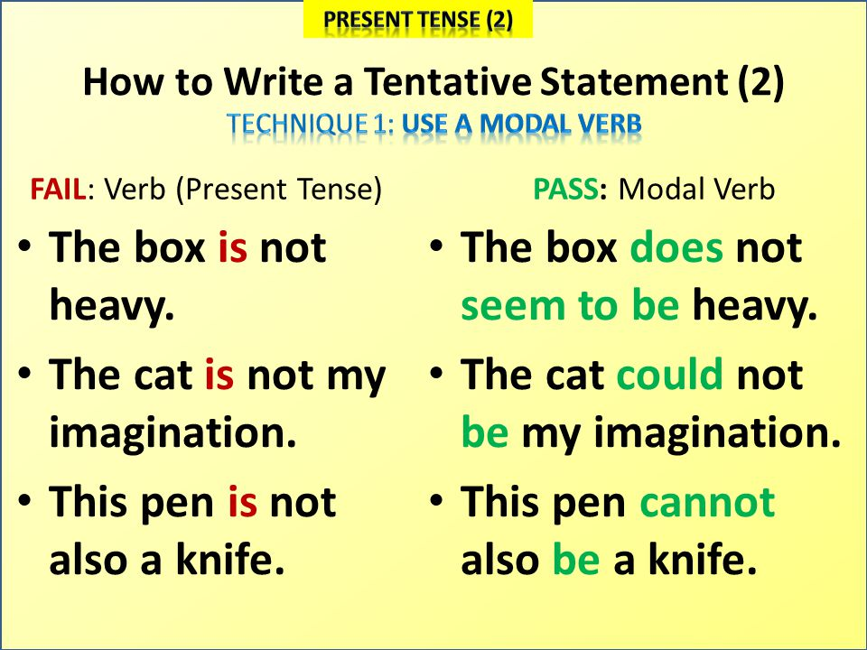 How to Write a Tentative Statement (3) FAIL: Verb (Past Tense) The man was alive.