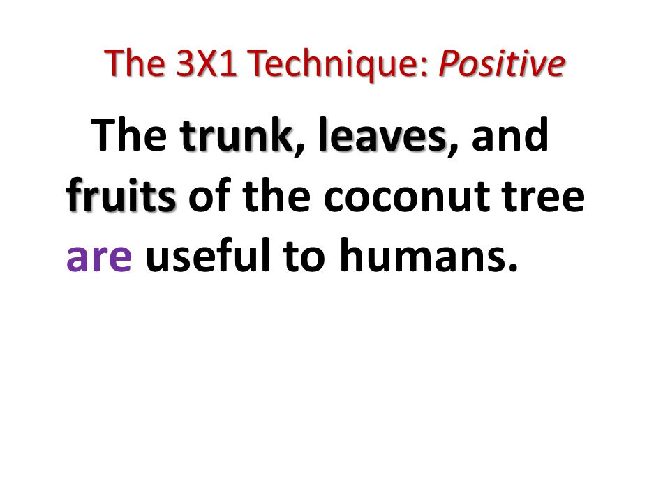 The 3X1 Technique: Positive trunkleaves fruits The trunk, leaves, and fruits of the coconut tree are useful to humans.