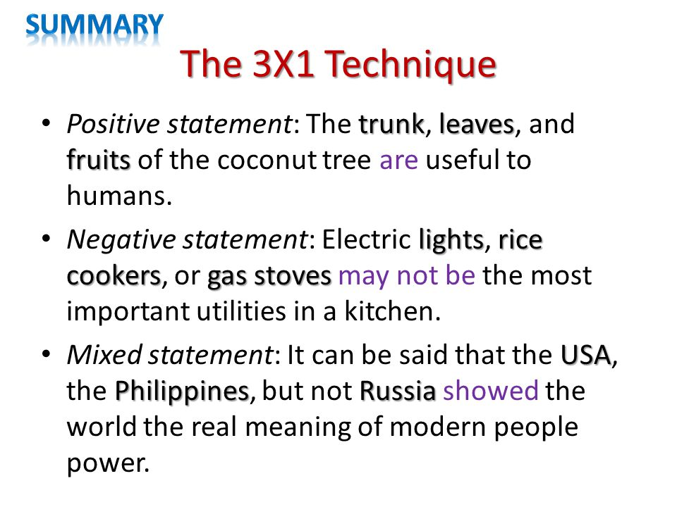 The 3X1 Technique trunkleaves fruits Positive statement: The trunk, leaves, and fruits of the coconut tree are useful to humans.