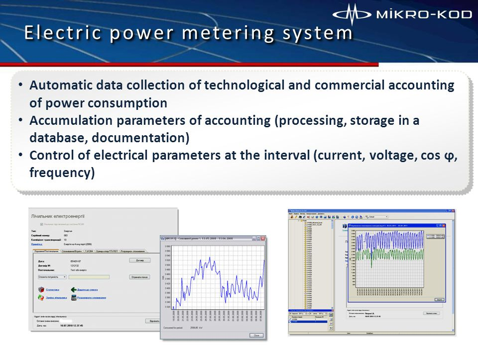 Electric power metering system Automatic data collection of technological and commercial accounting of power consumption Accumulation parameters of accounting (processing, storage in a database, documentation) Control of electrical parameters at the interval (current, voltage, соs ϕ, frequency)