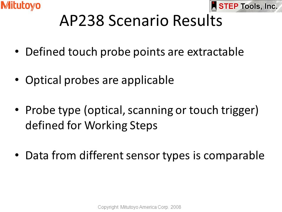 AP238 Scenario Results Defined touch probe points are extractable Optical probes are applicable Probe type (optical, scanning or touch trigger) defined for Working Steps Data from different sensor types is comparable Copyright Mitutoyo America Corp.