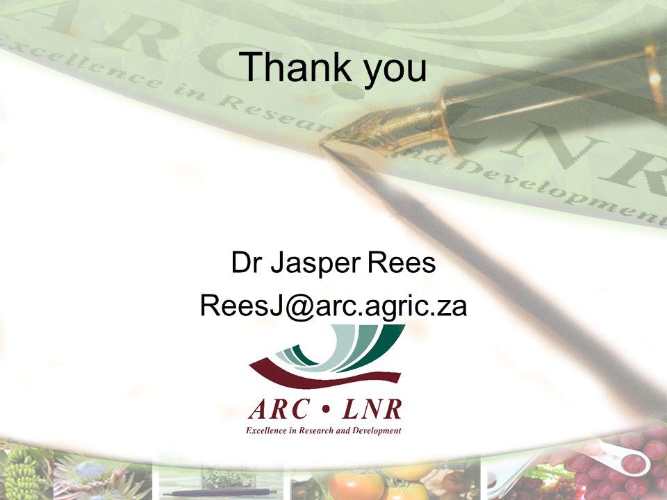 Thank you Dr Jasper Rees ReesJ@arc.agric.za